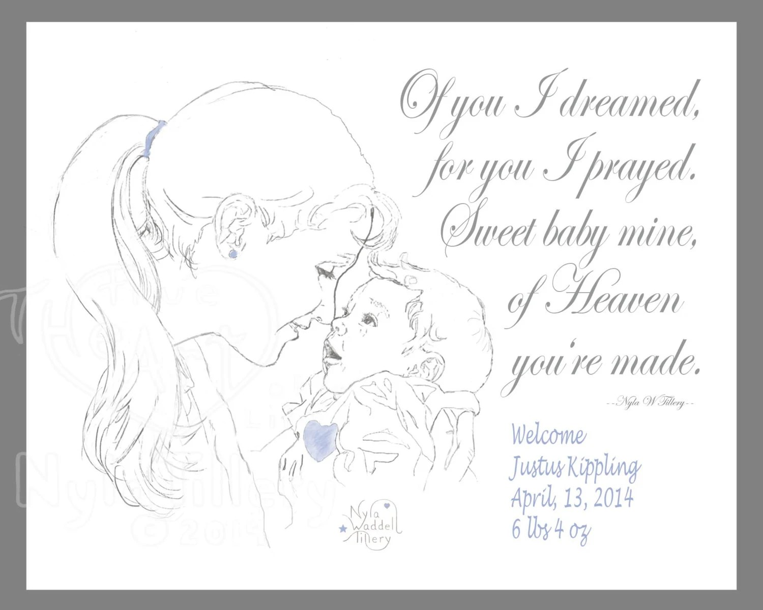 Items similar to Nursery Art, Poem, Mother and Newborn
