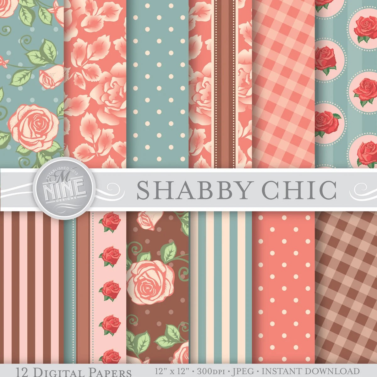 VINTAGE SHABBY CHIC Patterns 12 x 12 Digital Paper