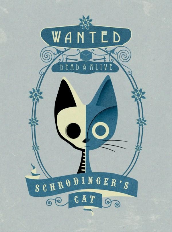 Schrodinger' Cat Wanted Poster Art Print Small