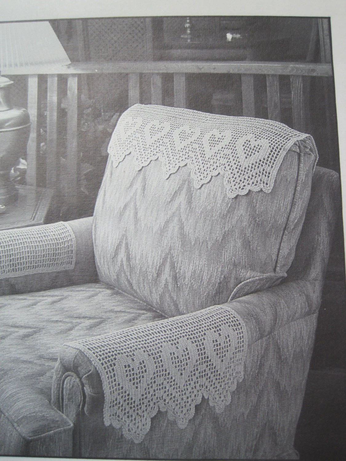 chair arm protectors pattern breakfast nook chairs crochet antimacassar set headrest and
