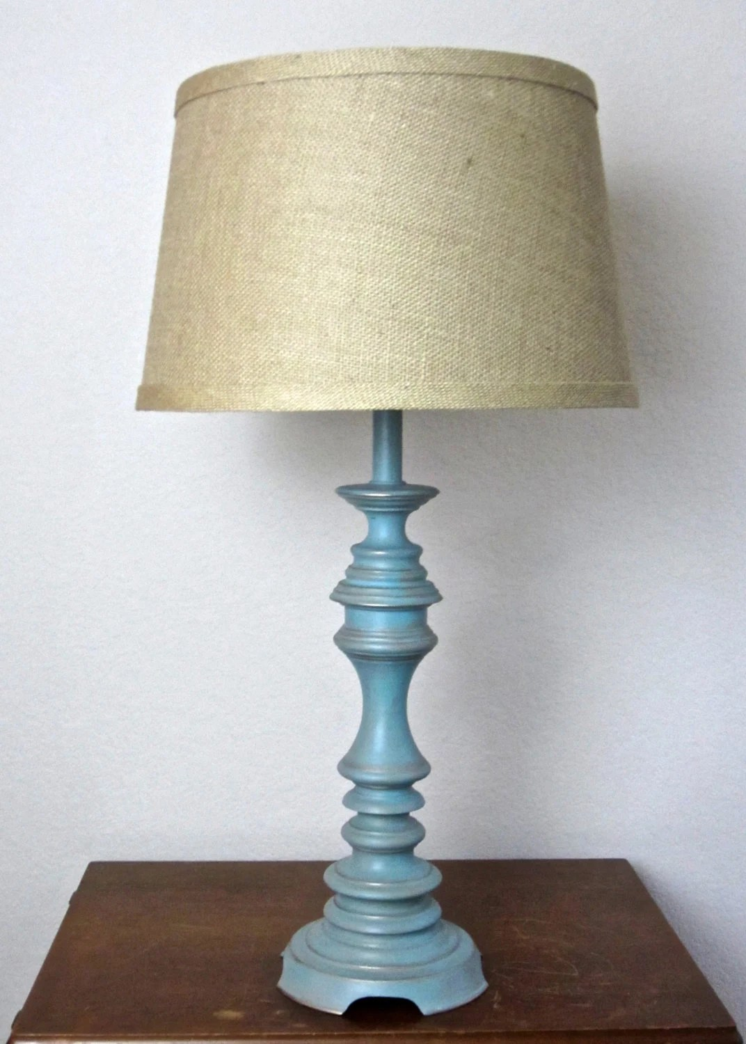 TABLE LAMP Cottage Chic Distressed Turquoise Gold Linen