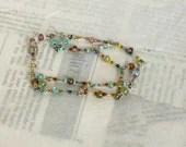 Beaded Bracelet, Multi Color Wire Bracelet - whimsiclecreations