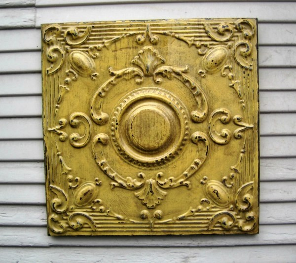 Antique Ceiling Tin Tile. Framed 2'x2'. Circa