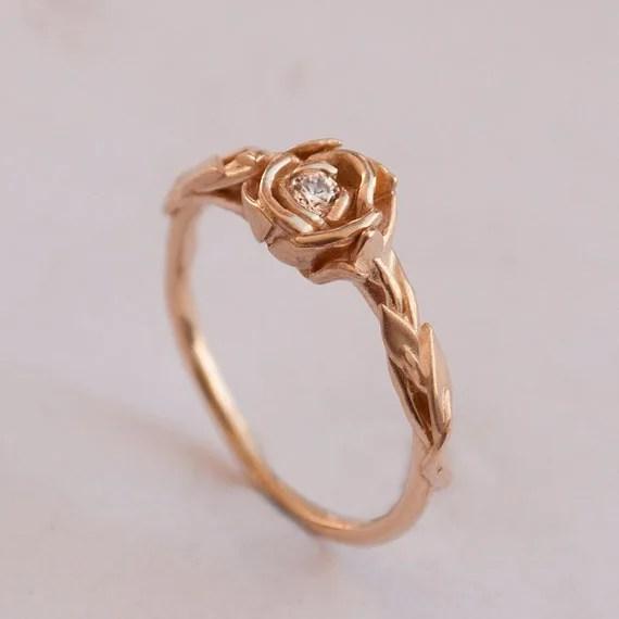 Rose Gold Rings: Vintage Rose Gold Rings Etsy Handmade