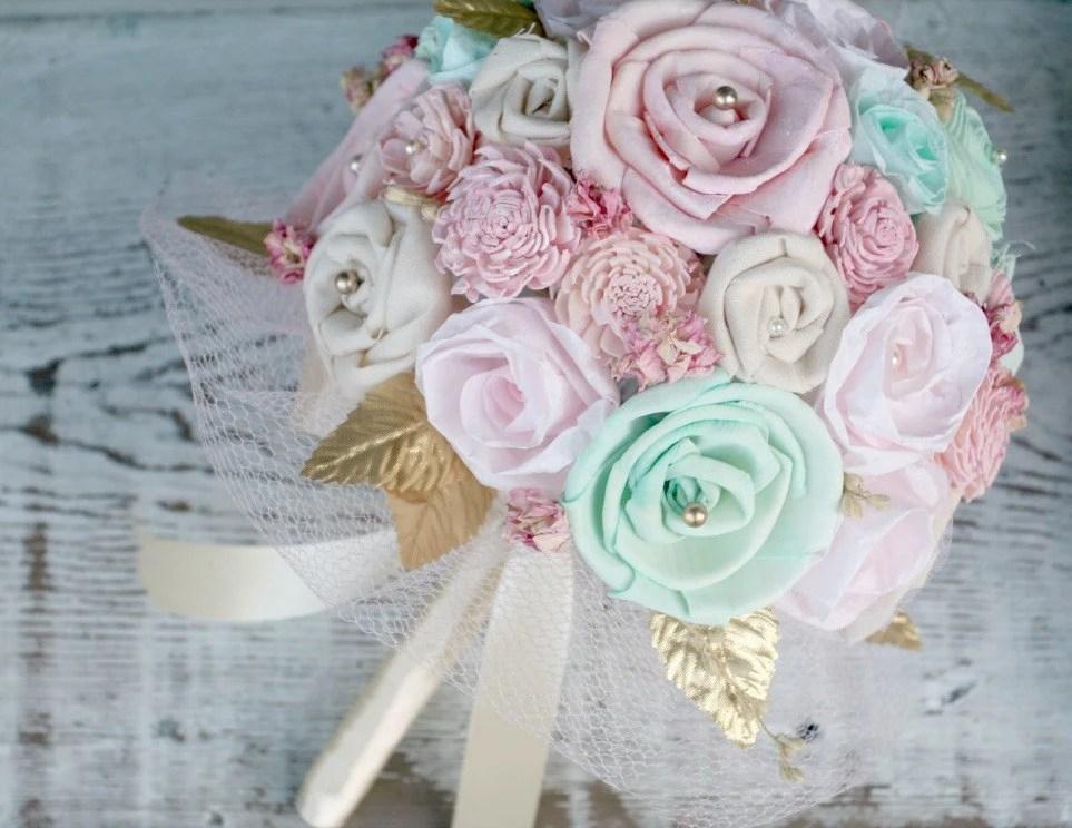 Pastel Bridal Bouquet Pink Mint Gold // Wedding Bouquet