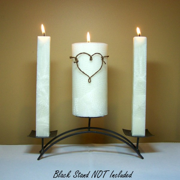 Rustic Unity Candle Set Weddings Stand Included