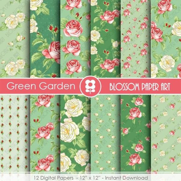 Green Scrapbook Paper Floral Digital Roses