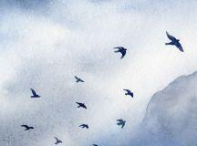 Birds painting Watercolor print Blue / grey / by SandraOvono