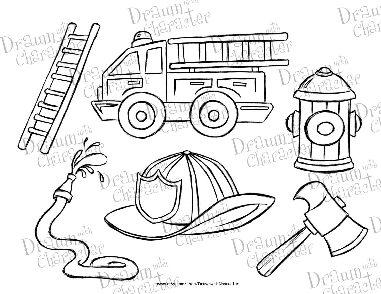 Fire Truck Set Digital Stamp Art Kopykake Image