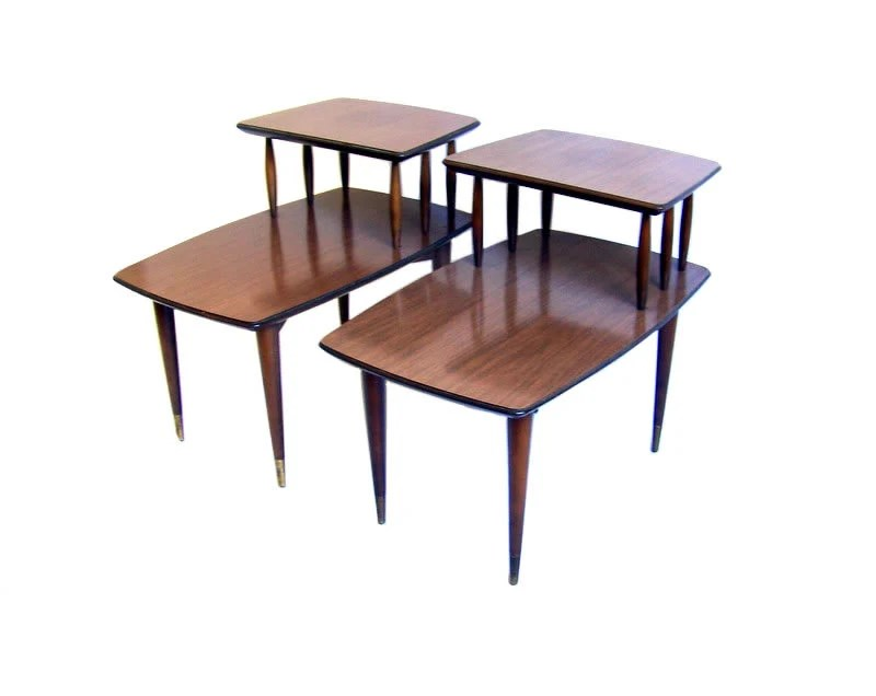 Mid Century Side Tables Two Tier Side Tables Walnut Wood Table