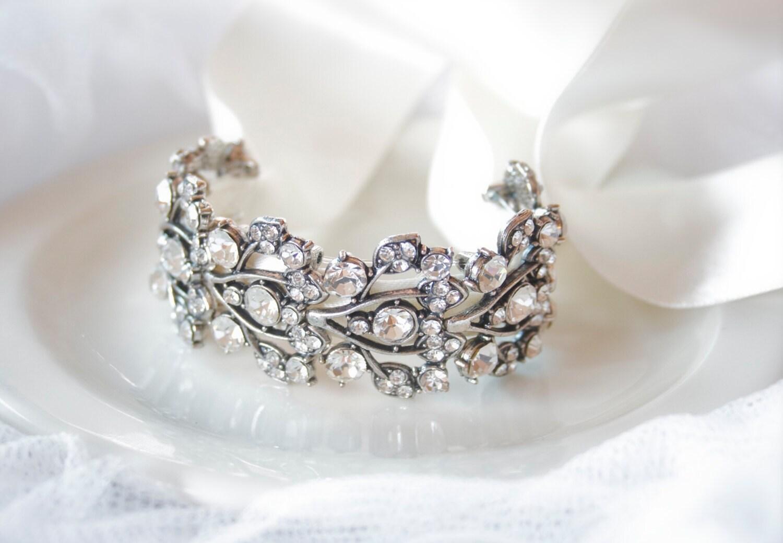 Bridal Bracelet Crystal Bracelet Cuff Ribbon Bracelet
