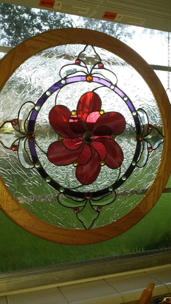 Unique Pinwheel Stained Glass Window Panel 22