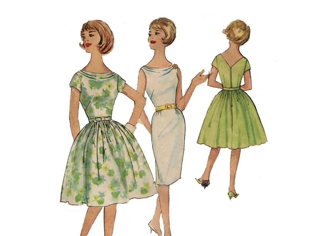 1960s Cowl Neck Dress Pattern Sheath Or Full Skirt Party Dress