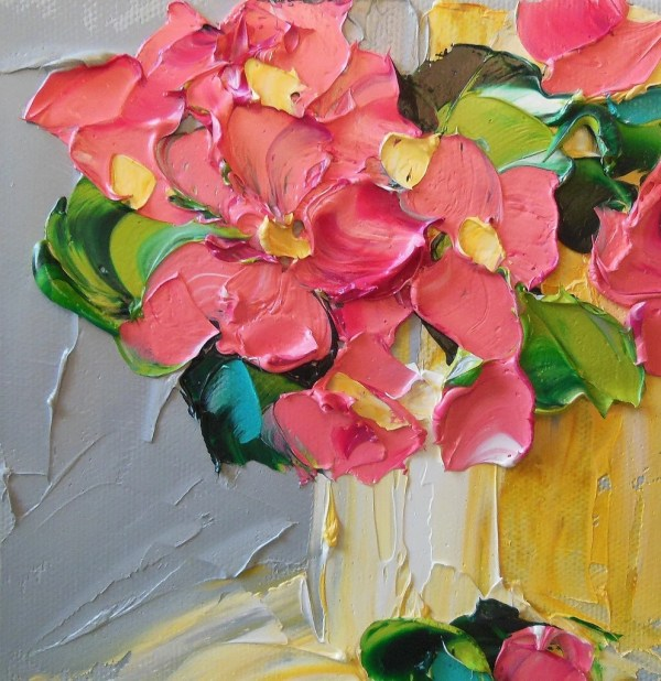 Abstract Painting Pink Floral Oil Wall Decor