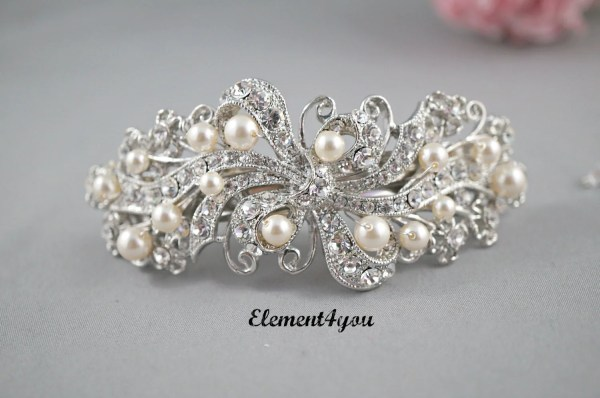 Bridal Barrette Rhinestone Pearl