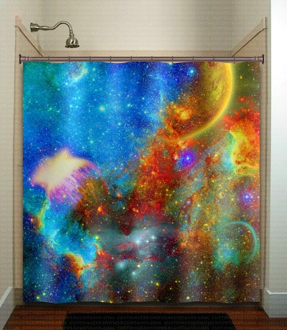 Rainbow Nebula Planet Outer Space Galaxy Shower Curtain