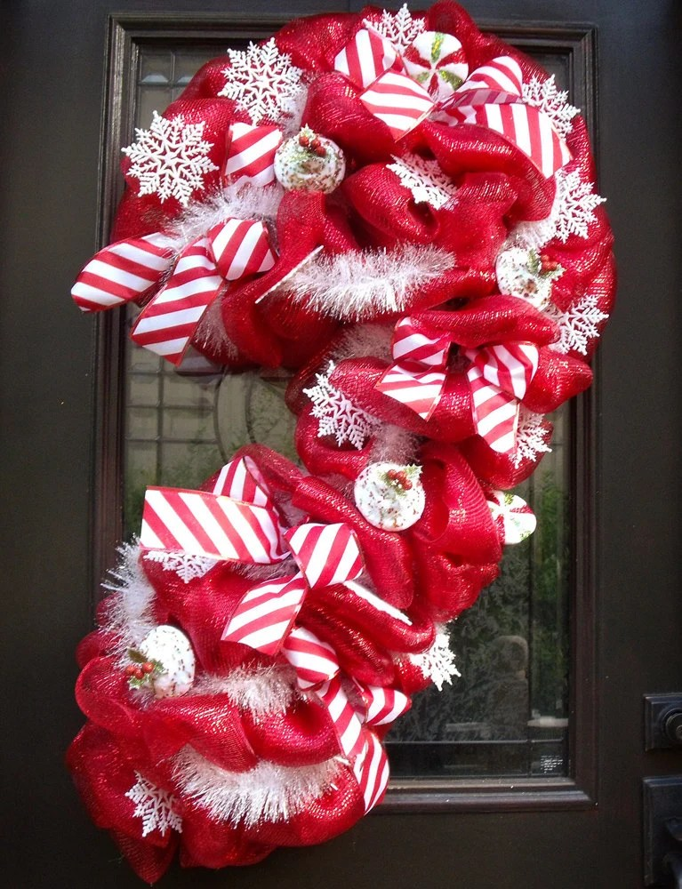 Christmas Deco Mesh Wreath Candy Cane Wreath Christmas Mesh