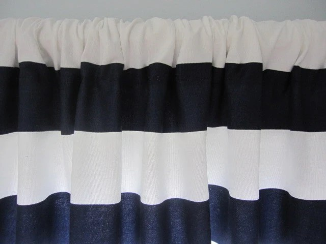 Curtain Valance Window Curtain Navy Blue and White