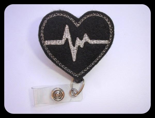 Retractable Badge Holder Nurse Reel Heartbeat Ekg