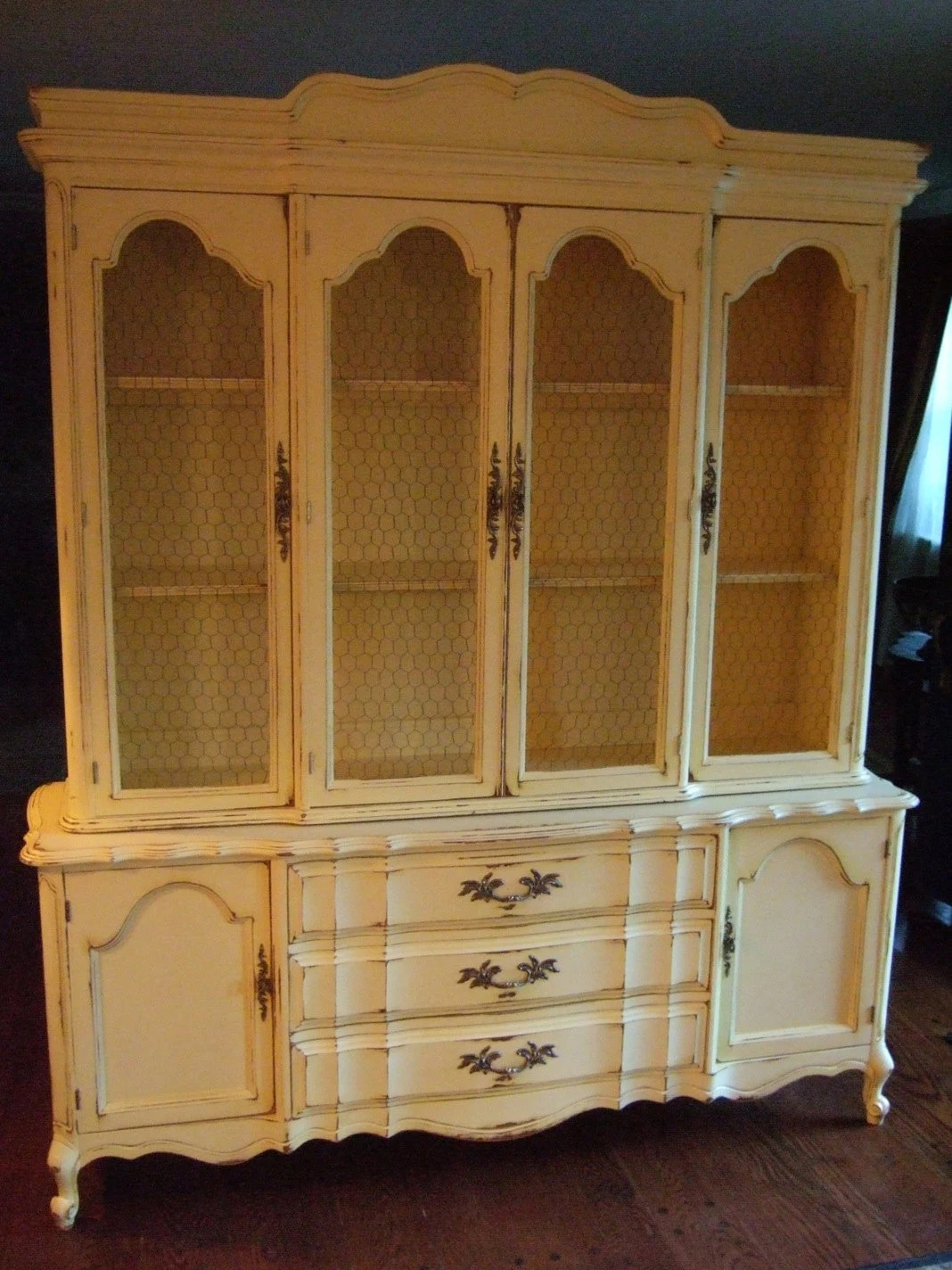 Large French Country Hutch in a Distressed French Country