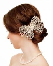 unique silver ribbon bridal hair