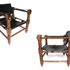 Leather Safari Chair Futon Vintage Black Sling
