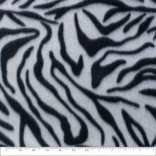 Black and White Zebra Animal Print Fleece Fabric by the Yard