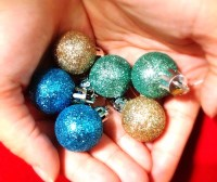 Glitter Christmas Ball Dangle Earrings. You Choose. Gold.