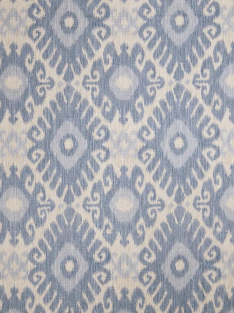 Denim Blue Ikat Upholstery Fabric Light Blue Curtain Material