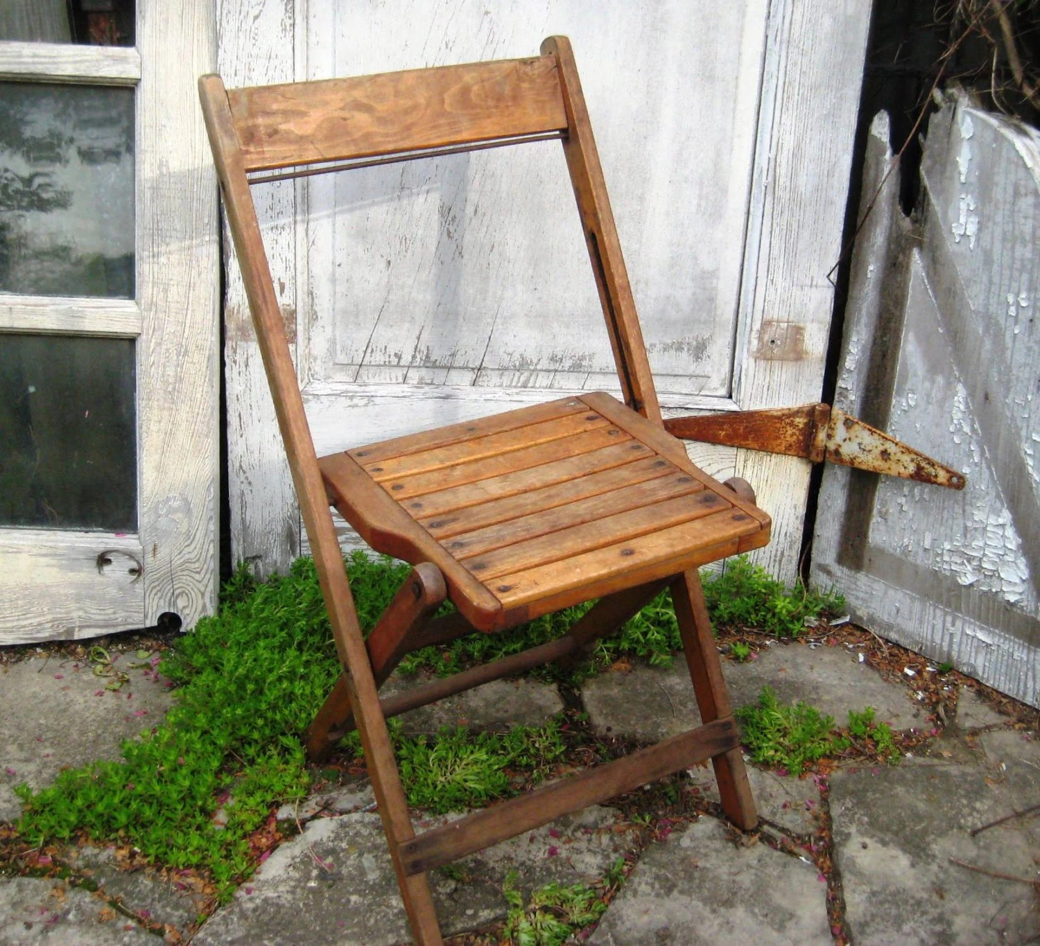 wooden slat chairs chair cushions at lowes pair of wood folding two vintage
