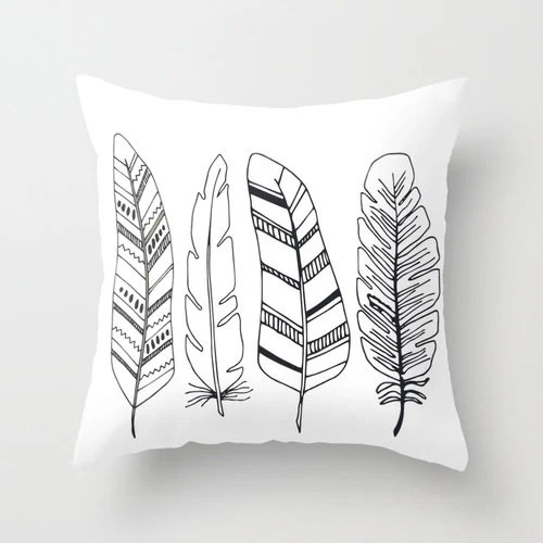 Feathers Pillow Case Decorative throw pillow cover home decor