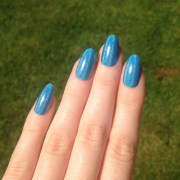 holographic light blue fake nails