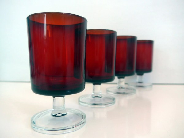 6 Vintage Ruby Red French Luminarc Cordial Wine Glasses Set Of