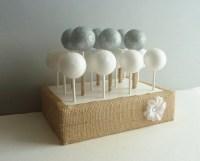 rustic woodland burlap wedding cake pop stand display holder