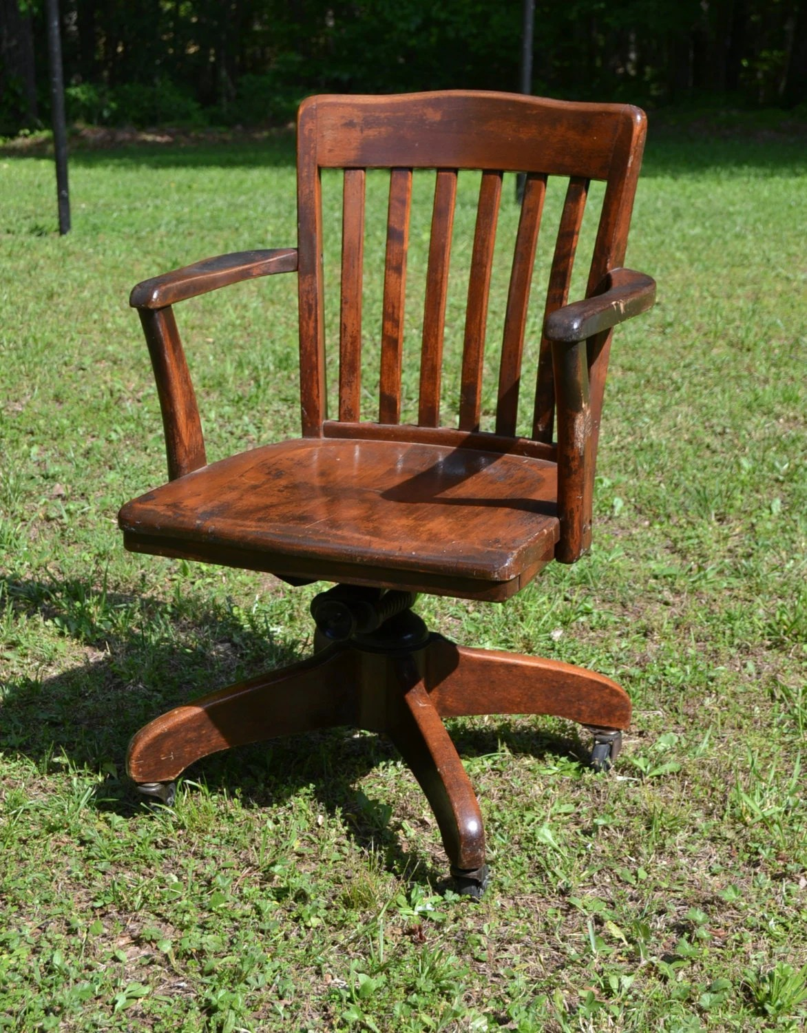 office chairs with wheels teak dining chair upholstery reserved vintage wood oak swivel