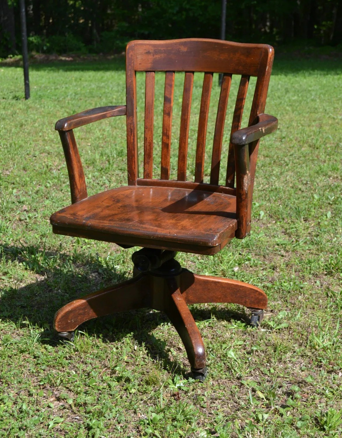 chair on wheels brown folding chairs reserved vintage wood oak office swivel