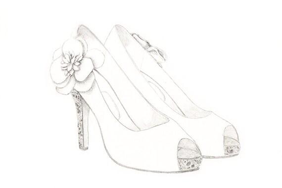 Items similar to Custom Wedding Shoes Illustration. Shoe