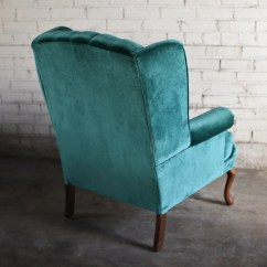 Green Velvet Tufted Chair Folding Outdoor Chairs Australia Teal Wingback