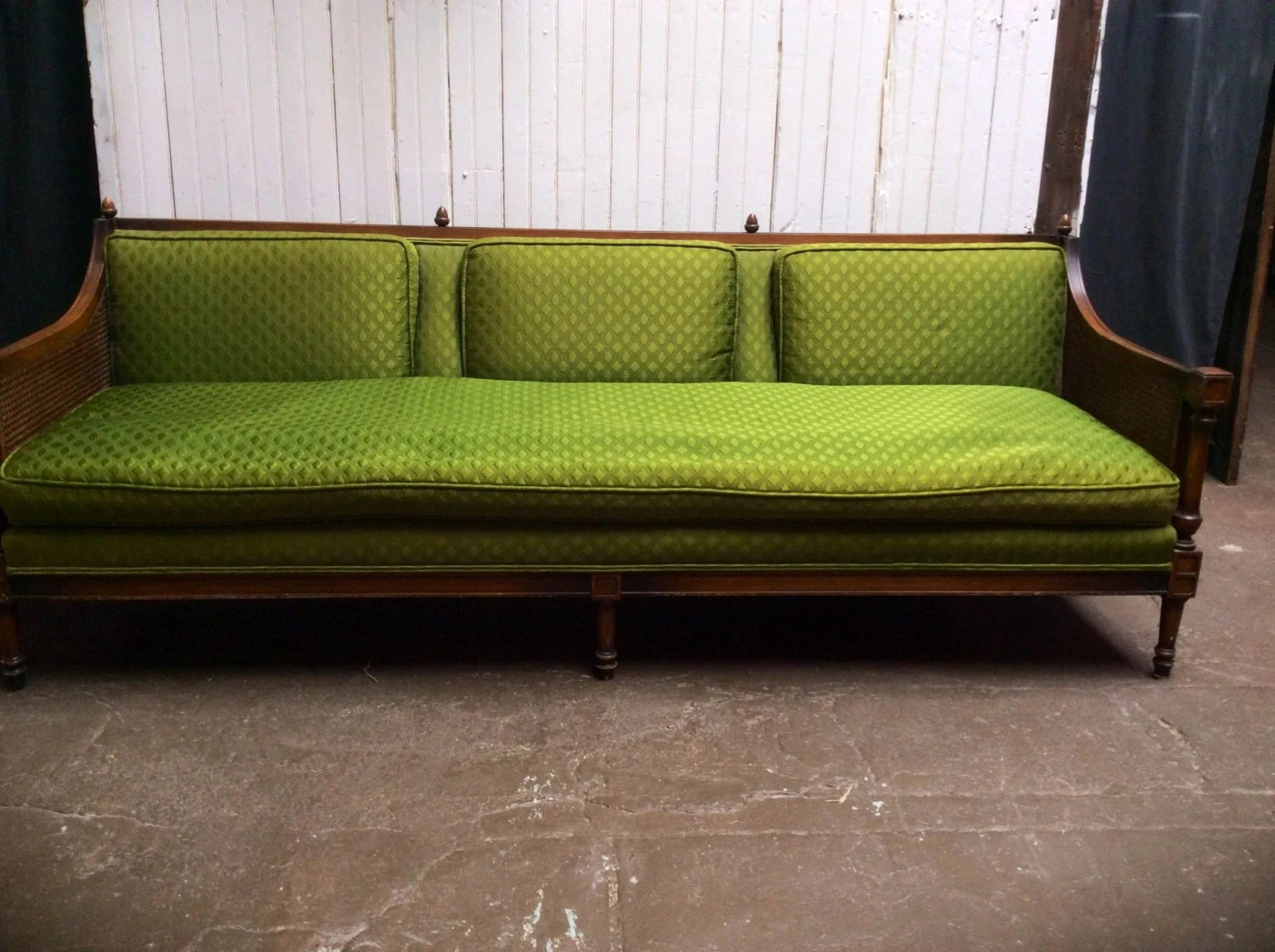 cane sofa bed marsala leather sided couch mid century modern french style