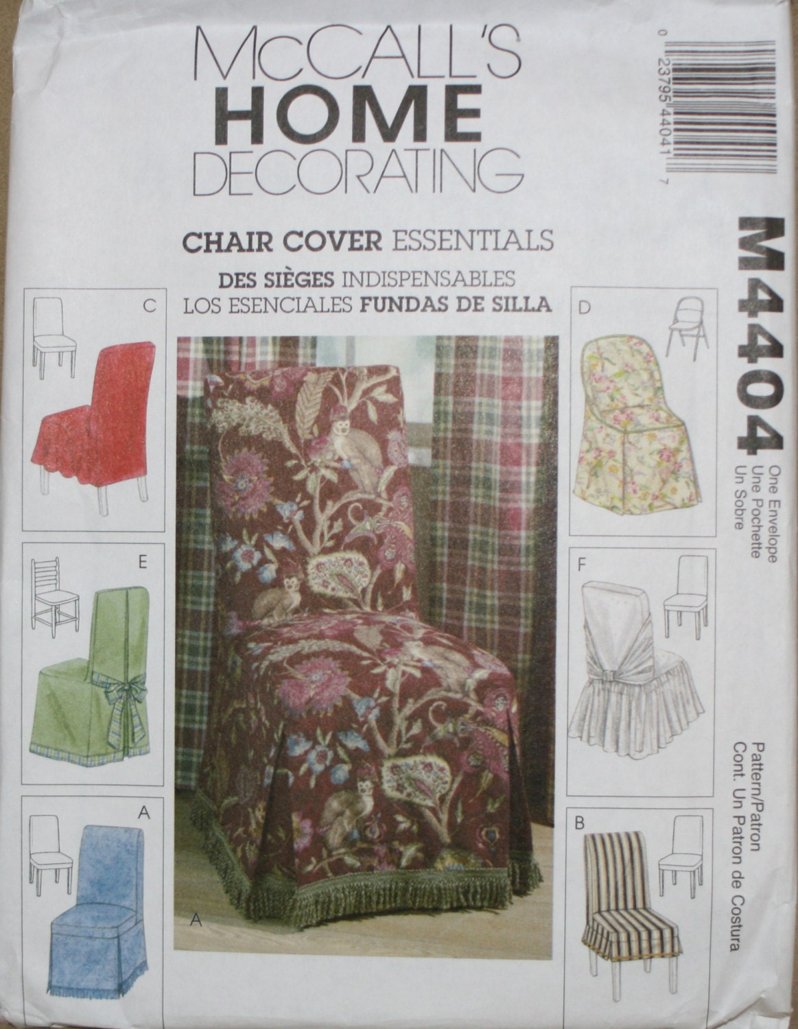 Chair Cover Patterns Mccall 39s M4404 Chair Cover Sewing Pattern New Uncut