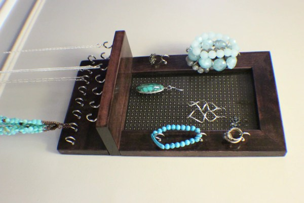 Stained Wall Mounted Jewelry Organizer Theknottyshelf