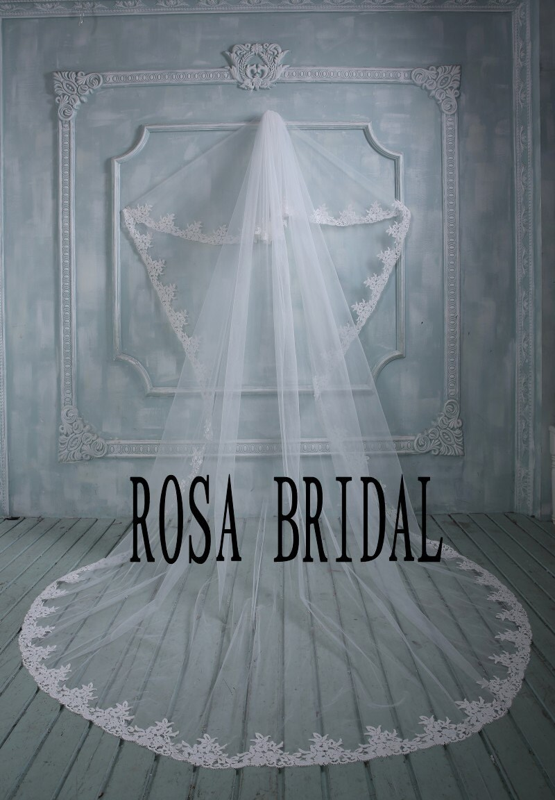 Cheap Long wedding veil 2 tiers bridal veil lace by rosabridal