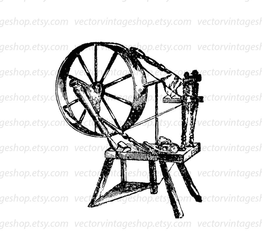 Spinning wheel vector graphic instant download, thread