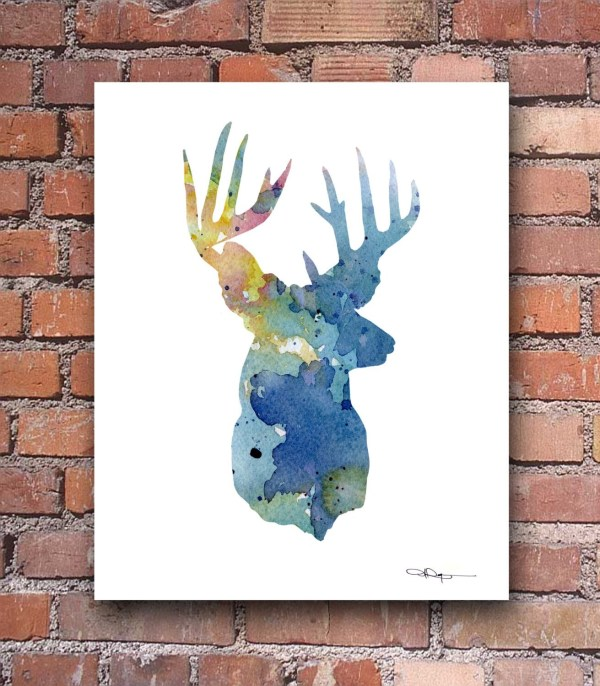 Deer Art Print Abstract Buck Watercolor Painting Wall