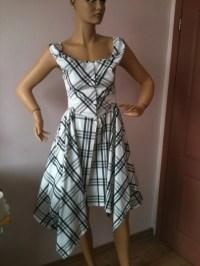 Casual Summer dress/Corset asymmetric dress/Tartan summer