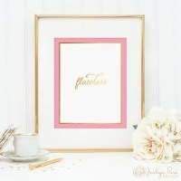 Flawless printable wall art decor gold foil and pink design