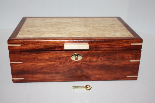 Handcrafted Wood Locking Spalted Birch And Paduk Secretary Box