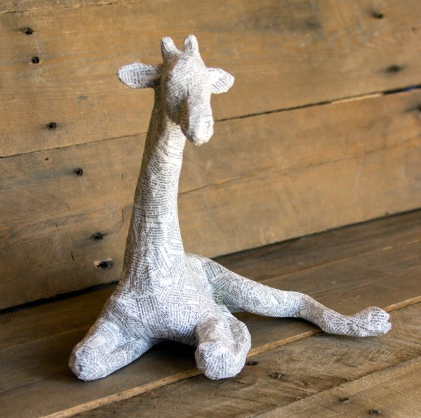 Paper Mache Animal Sculpture Sitting Giraffe Paperunleashed