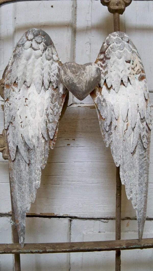 Shabby Chic Wall Decor Metal Angel Wings