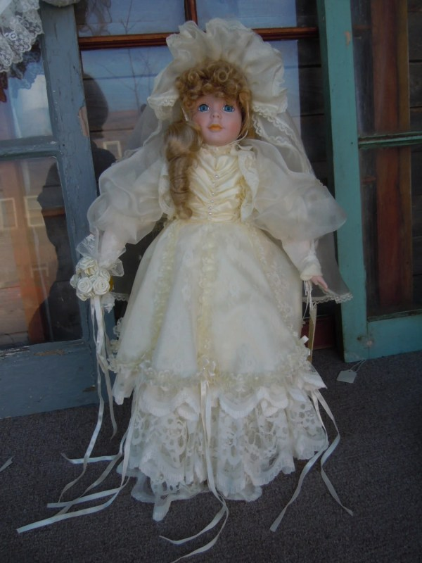 Large Porcelain Bride Doll In Ivory Wedding Dress Collectible